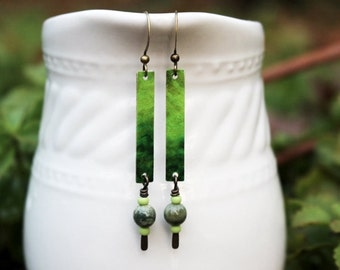 Green Mixed Media Earrings, Mixed Media Jewelry, Green Bead Earrings, Long Earrings, Bohemian Earrings, Ombre, Hippie Earrings