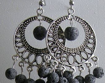 Natural Lava Bead Dangle Chandelier Earrings with Stainless Steel Hooks