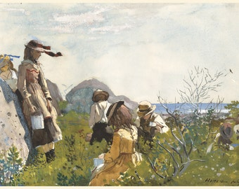 Winslow Homer Watercolor Reproductions. Berry Pickers, 1873. Fine Art Print.