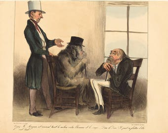 Fine Art Reproduction. The Prints of Honore Daumier:  Look Mr. Mayeux, at the animal..., 1836. Fine Art Print.