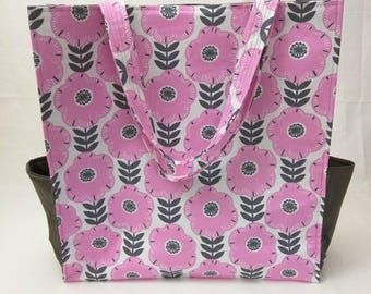 Large Tote - Pink and Gray Mod Floral