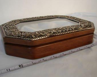 Vintage, rare 950 stamped silver & wood,ornate wedding frame, shadow box, frame for wedding tiara display.