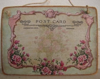 pink roses & cherub, vintage postcard image on natural wooden tag, French home accents