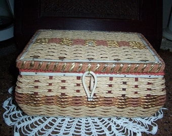 Vintage Filled Woven Tan and Gold Sewing Basket Complete with Notions ....Nice Condition...Made in Japan...1960's Mid Century Find..