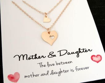 Mother Daughter Necklace Mother Daughter Jewelry Rose Gold Heart necklace Mother day gift from daughter Mother of the bride gift