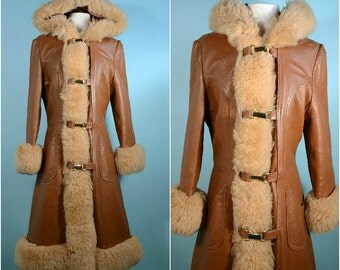 SALE Vintage 60s/70s Mod Leather Coat + Shearling Fur Trim, Hooded Boho Hippie Penny Lane Winter Leather Coat + Fur Gypsy Bohemian Coat  S