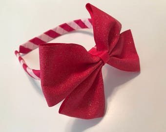 Hot Pink/Light Pink Woven Headband with Hot Pink Glitter Bow, Girls/Toddlers