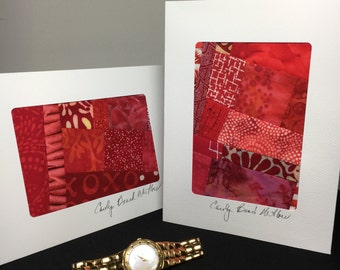 Red Art Quilt Blank Note Cards//Art Card//Thank You Note Card//Greeting Card//Hostess Gift//Thank You Gift