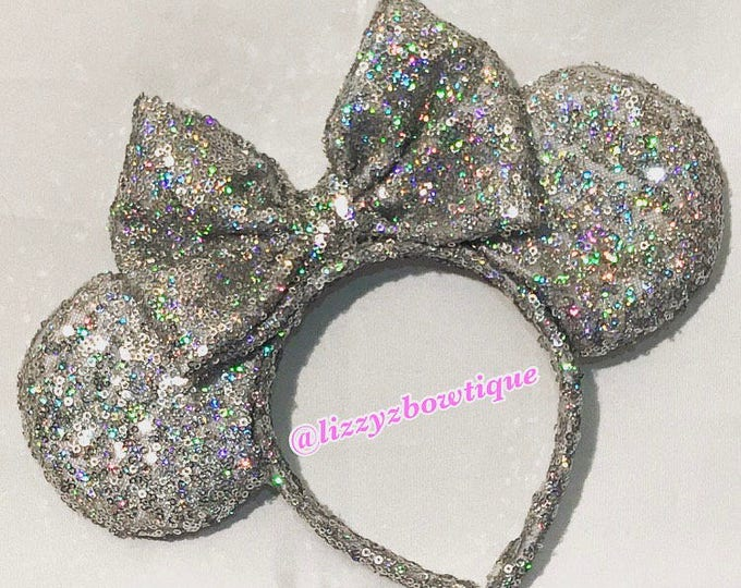 Holographic silver Minnie ears or Pick any color Sequin bow