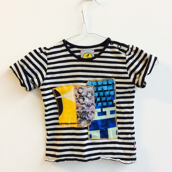 COVER 1-2 Years Kids Childrens T Shirt Top with Appliqué Patch in Upcycled Cotton Unisex