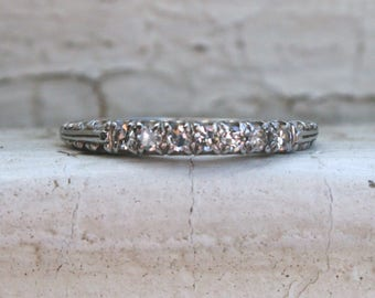 RESERVED - Intricate Vintage Platinum Diamond Wedding Band by Jabel.