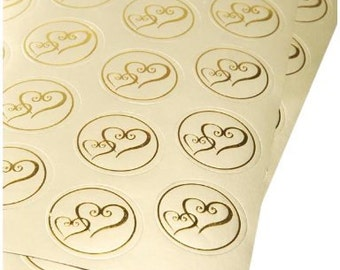 50 Gold Metallic Double Heart Stickers for Invitations, Weddings, etc, Gold Envelope Seals