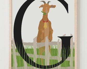 Animal Alphabet, G is for Goat Fine Art Print
