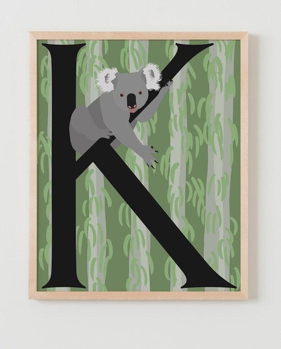 Animal Alphabet, K is for Koala Fine Art Print