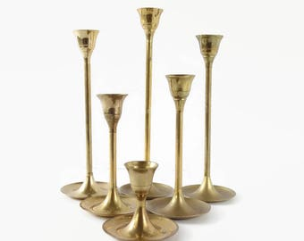 Vintage Brass Tulip Candlesticks, Graduated Brass Candle Holders, Set of 6 Stair Step Mid Century, Wedding Table Decor, Candle Collection