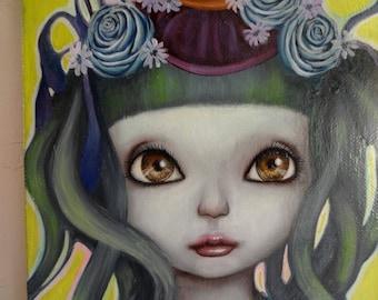 "Original Small Painting ""Olivia"" Girl"