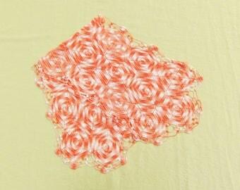 Vintage crocheted runner, salmon pink dresser scarf