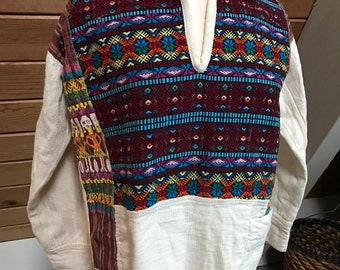 Colorful Embroidered Woven Guatemalan Top wtih Fringe small/medium