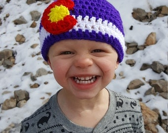 Crochet Colorado Flag Beanie, Purple Hat, Beanies for Toddlers, State Flag Hat, Colorado Pride, Colorado Flat, Winter Beanies for Children