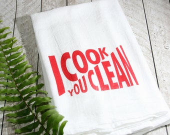 I Cook You Clean Kitchen Towel