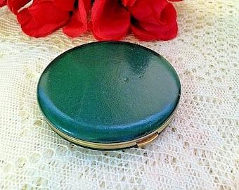 Vintage Lin Bren Green Vinyl Powder Compact