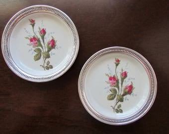 Two Rosenthal Moss Rose Porcelain Coasters with Sterling Silver Rims