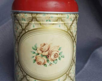 Beautiful Vintage Cranberry Rose Coffee Tin - Worcester Ware.  1950's