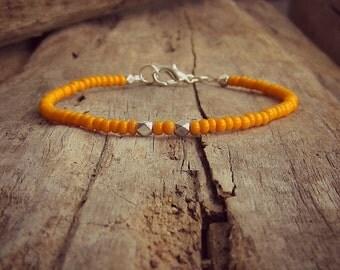 Orange Bracelet • Beaded Bracelet • Thin Bracelet • Bridesmaid Bracelet • Minimal Bracelet • Friendship Bracelet • Wedding • Delicate