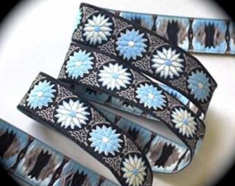 "Woven Ribbon -5/8"" X 3 YARDSDaisy Dot Flower Black/Khaki/Ivory/Blue DF3c"