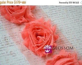 HOLIDAY SALE 1/2 or 1 YARD Increment - Coral - Chiffon Shabby Rose Trim - Frayed Flowers - Headband Flowers