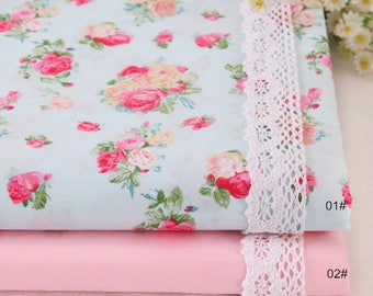 Pink Flower Fabric,Shabby Chic Flower Fabric,Pink Fabric,Pink Floral width 63 inch 160cm Cotton Fabric - 1/2 Yard(QT1150)