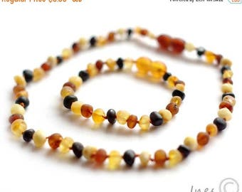 CHRISTMAS SALE Raw Unpolished Multicolor Baltic Amber Baby Teething Necklace and Bracelet/Anklet