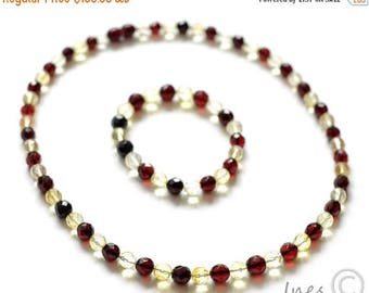 15% OFF Set of Baltic Amber Cherry and Lemon Necklace and Bracelet. Faceted round amber beads