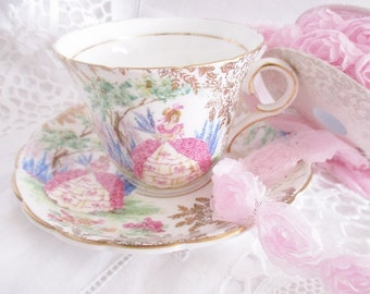 Vintage Colclough pink crinoline lady teacup and saucer, gold chintz teacup, 1940s Made in England teacup, excellent condition
