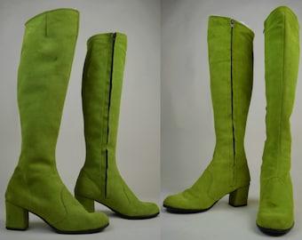 60s Rare Apple Green Suede Knee High Go Go Boots UK 3 / US 5.5 / EU 36