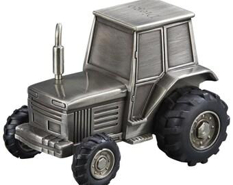 Non Tarnish Pewter Finish Monogrammed Keepsake Tractor Bank