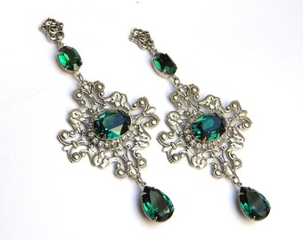 Emerald Swarovski Crystal Earrings Long Dangling Swarovski Earrings Wedding Jewelry Wedding Statement Earrings Gothic Victorian Jewelry