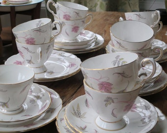 Tuscan ' Windswept' vintage china tea cup trio