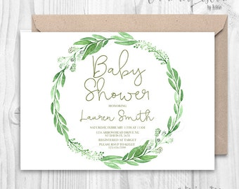 Greenery Wreath Baby Shower Invitation | green leaf baby shower| 2017 trends invites, green baby shower, leaves watercolor invitation branch
