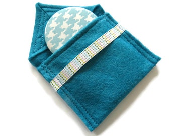Turquoise Felt Pouch With Small Pocket Mirror- Fabric Covered Handbag Mirror - Compact Mirror with Pouch