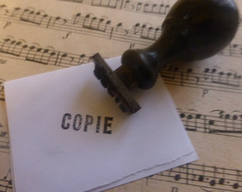 Rubber Stamp,  Police Office, Copy, Copie,   Vintage French Circa 1910