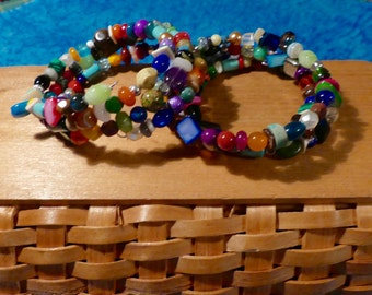 Colorful Three Wrap Small Bead Gemstone, Shell and Glass Memory Wire Bracelets
