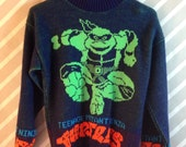 vintage 1990 teenage mutant ninja turtles acrylic sweater adult s/m