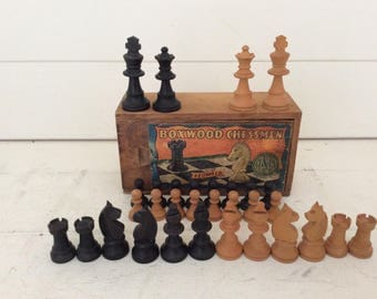 Vintage boxwood chess set~ebonised chess pieces~boxed~made in France~Wooden Chess Set~