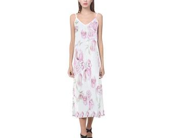 Chinese peonies -handpainted -soft silk dress from XS to XXXL-summer dress-bridemaid dress-spring dress-maxi dress-silk slip dress