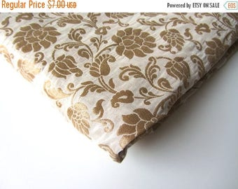 ON SALE Gold tan flowers  silk brocade from India fabric nr 503 REMNANT