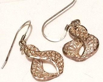 Filigree Earrings, Figure of Eight, Pierced, Dangly Earrings, Sterling Silver Vintage Jewelry SPRING SALE