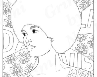 angela davis portraits coloring pages for adults colouring pages pdf printable