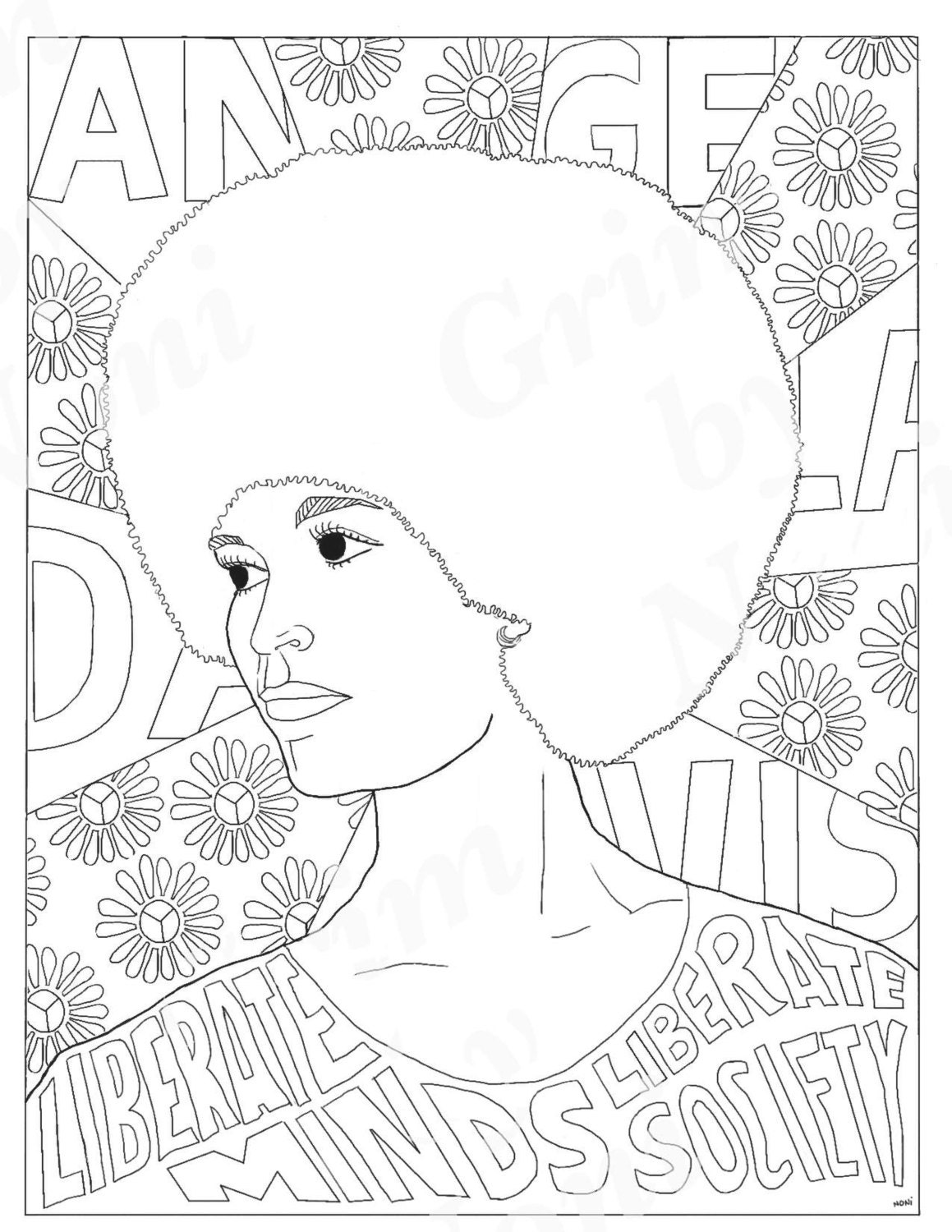 angela davis portraits coloring pages for adults colouring