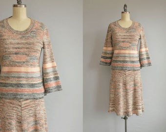 Vintage 70s Sweater Dress / 1970s Organically Grown Two Piece Space Dye Wool Blend Sweater Knit Dress Set
